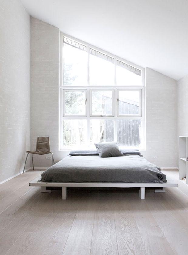 minimal master bedroom big windows