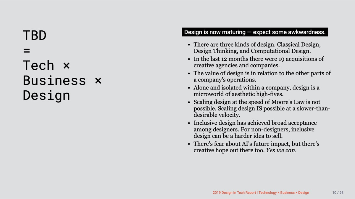 📱Design in Tech Report 2019   Section 1   TBD = Tech × Business