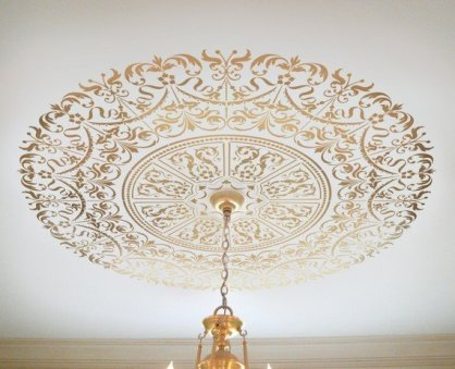 DIY stencil projects ceiling medallion