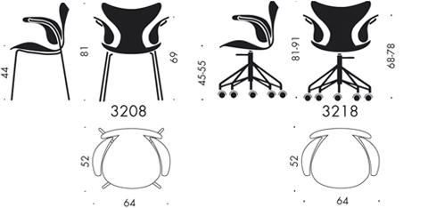 Arne Jacobsen Armlehnenstuhl Die Lilie 3208 von Jacobsen