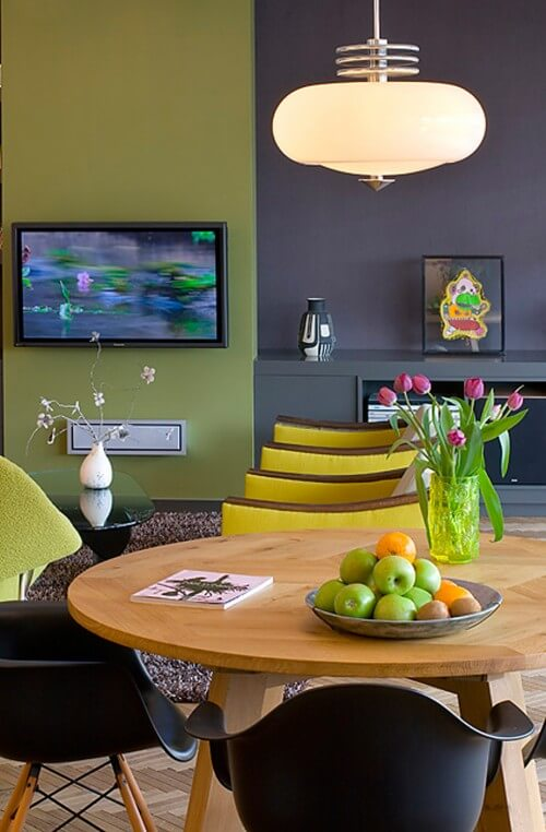 contemporary-dining-room-green-and-purple-walls