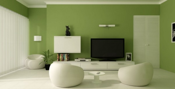 green-wall-painting-minimalist-living-room