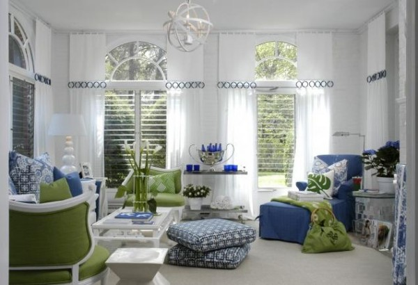 Bon Blue And Green Accents Living Room