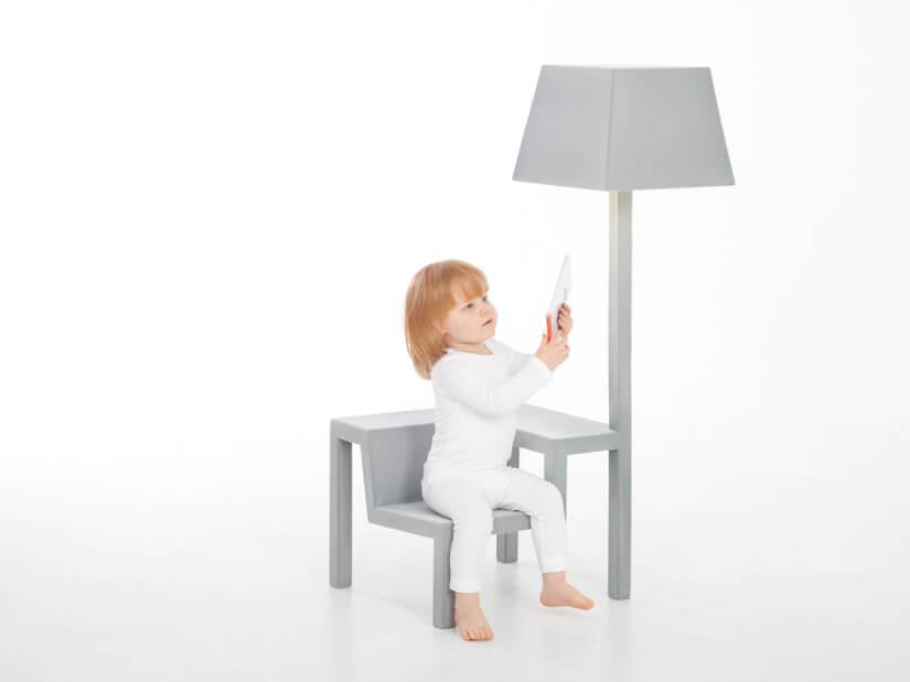 Creative-grey-chair-with-lamp