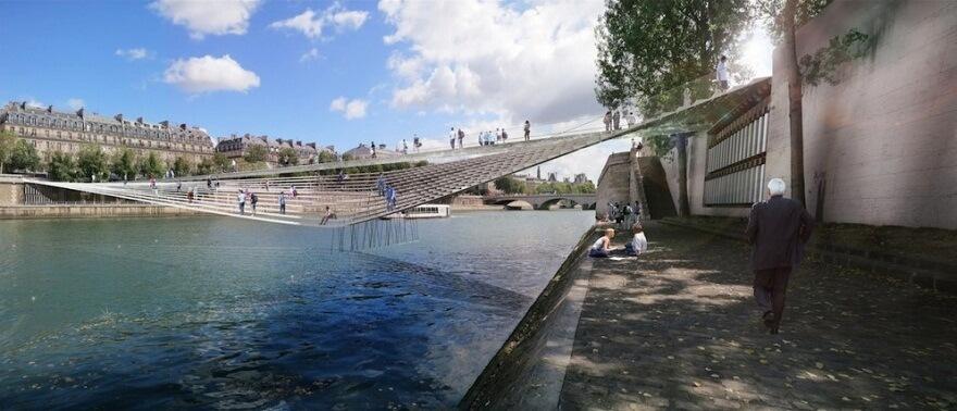 Pedestrian-bridge-across-the-Seine-in-Paris