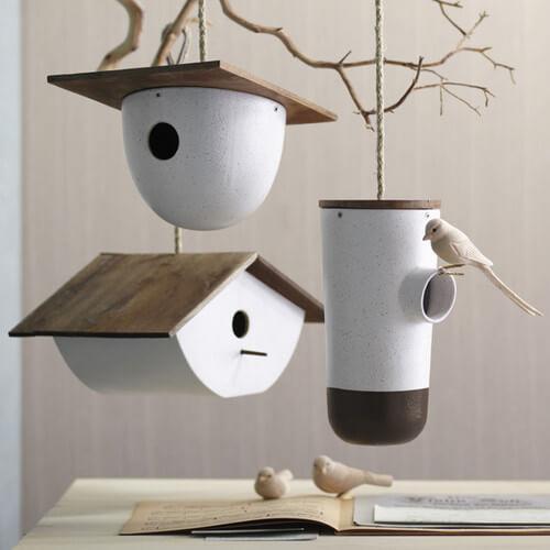 Modern--white-birdhouses