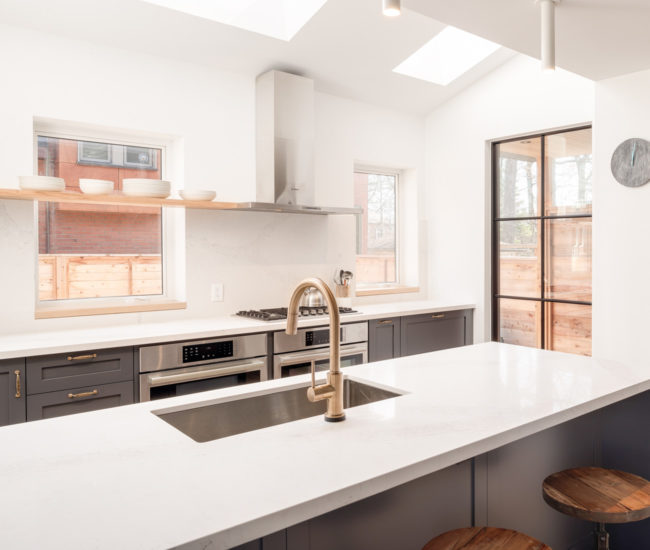 kitchen reno island with butcher block a gourmet chic in wychwood park