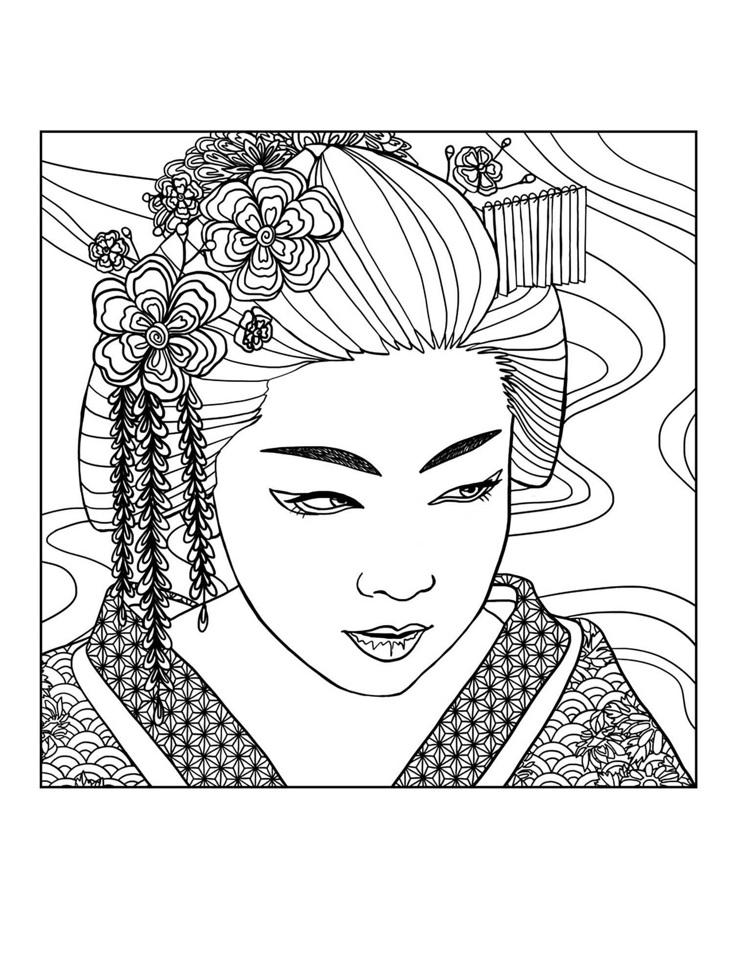 Geisha Coloring Download Geisha Coloring