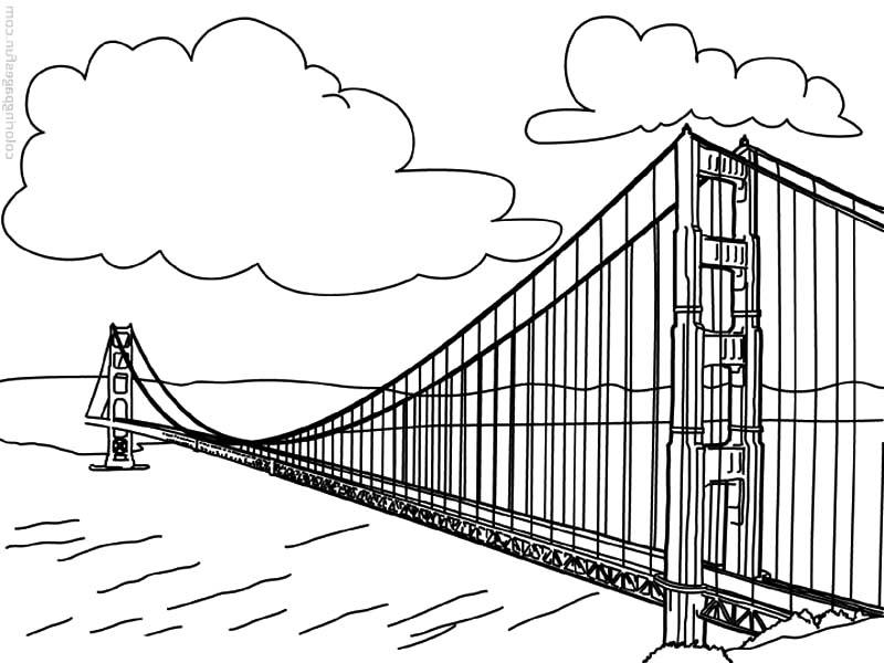 Golden Gate coloring, Download Golden Gate coloring