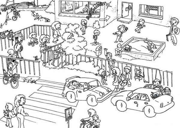 Crowd Outline Coloring Coloring Pages