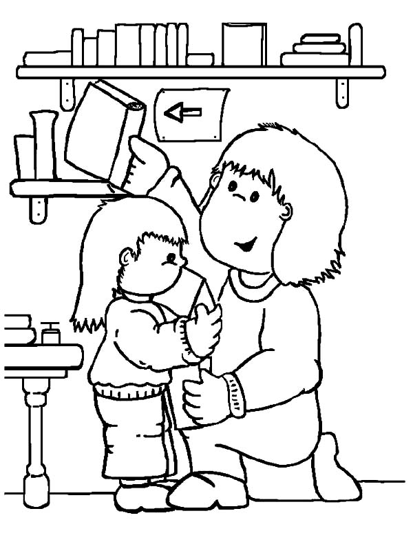 Library coloring, Download Library coloring