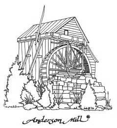 Watermill coloring, Download Watermill coloring