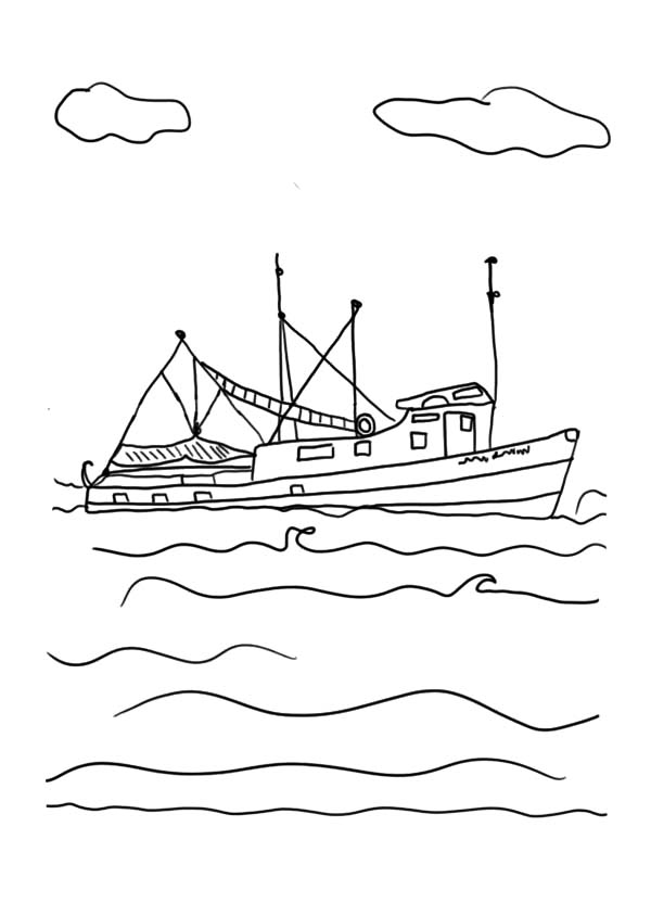 Crashing Waves Drawing Simple Sketch Coloring Page