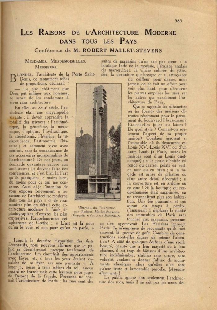 Design Luminy Conférence-22Les-raisons-de-larchitecture-moderne-dans-tous-les-pays22-1er-décembre-1926-1-1 Robert Mallet-Stevens – Les raisons de l'architecture moderne dans tous les pays (conférence) Histoire du design Références Textes  Robert Mallet-Stevens