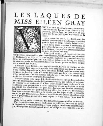Design Luminy Feuillet-arts-2 Les laques de Miss Eileen Gray - Elisabeth de Clermont-Tonnerre Histoire du design Références Textes  Eileen Gray