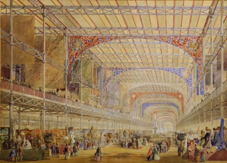 Design Luminy crystal-palace-hyde-park-William-Simpson-Owen-Jones-design-for-the-interior-of-the-Great-Exhibition-1850.- Crystal Palace 1851 - Joseph Paxton (1803-1865) Histoire du design Icônes Références  Owen Jones Joseph Paxton Henry Cole Exposition universelle Crystal Palace
