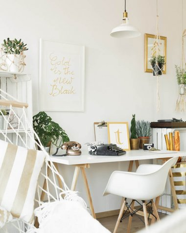 White bedroom desk