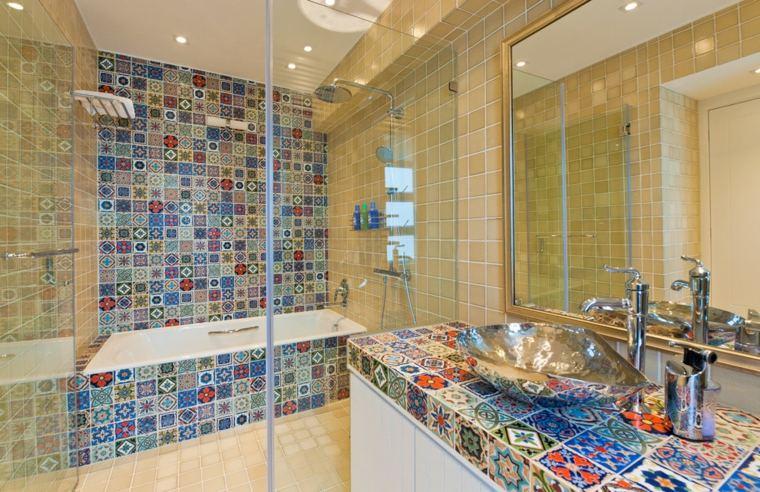 carrelage salle de bain en couleur