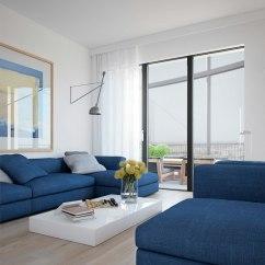 Navy Blue Sofa Living Rooms Small Room Furniture Déco Intérieur - Blanc Et Bleu, Combinaison Classique