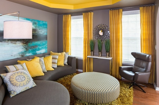 Dcoration intrieur  la combinaison gris et jaune