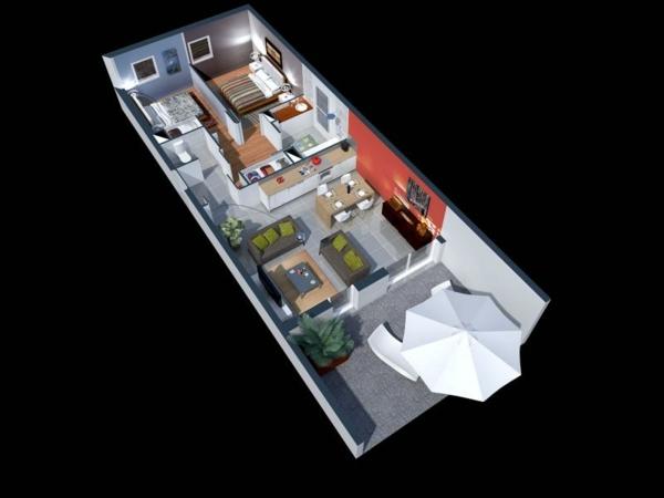 Plan maison 3D dappartement 2 pices en 60 exemples