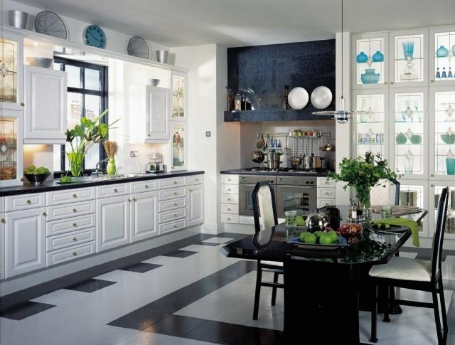 Carrelage cuisine en noir et blanc  22 intrieurs inspirants
