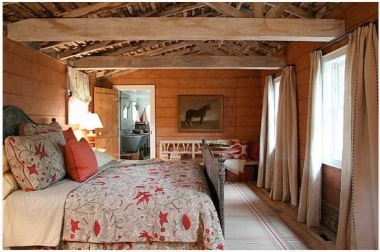 chambre coucher style grange elements rustiques
