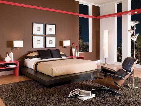 25 chambres  coucher stylises avec La couleur rouge