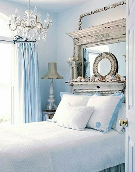 blue and white vintage bedroom La chambre à coucher style marin : 38 exemples