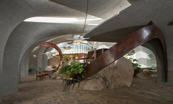 Une maison architecture moderne cache dans le dsert