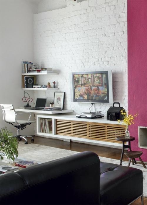 Le salon en brique rouge stylis en 35 exemples  vous faire partager