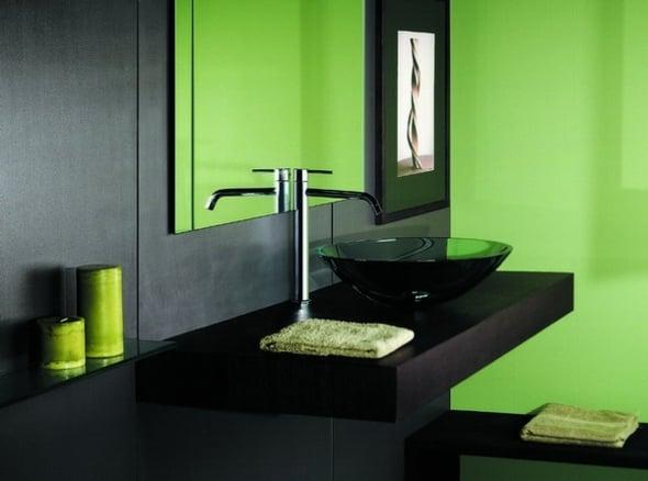 Dcoration salle de bain en vert  originale et rafraichissante