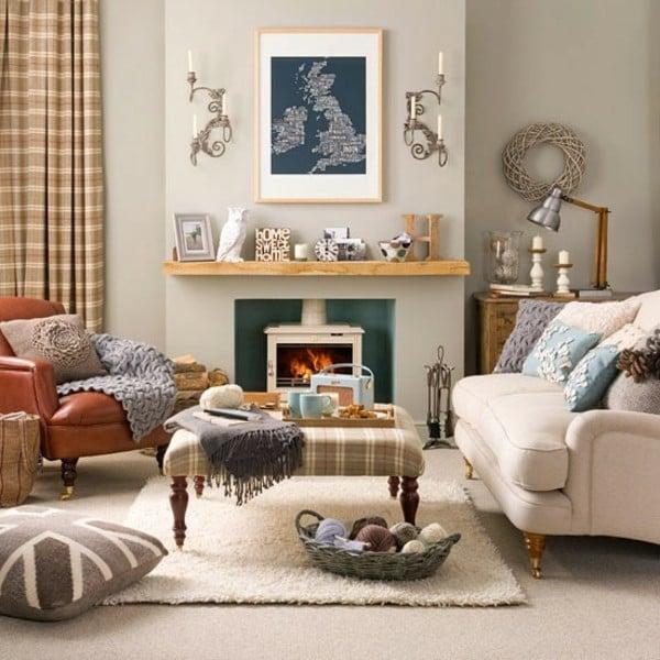 leather chesterfield sofa beige rare bison salon moderne et cheminée design : un mariage parfait