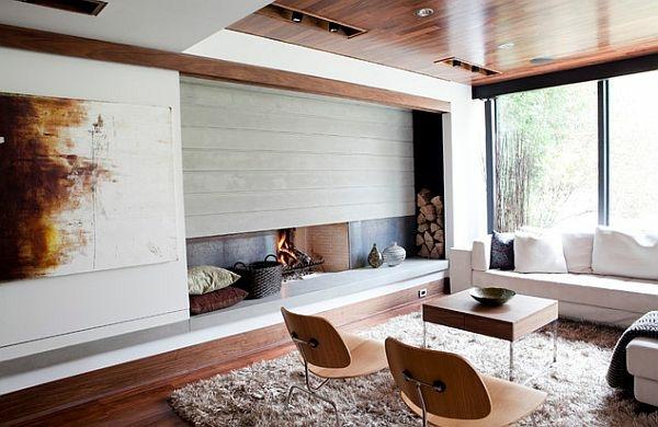 Salon moderne et chemine design  un mariage parfait