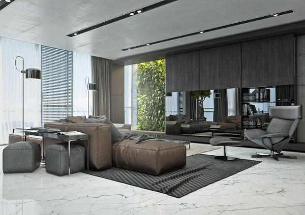Quatre appartements avec dco design masculin