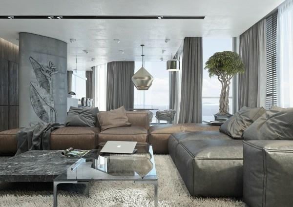 Wohnzimmer In Braun