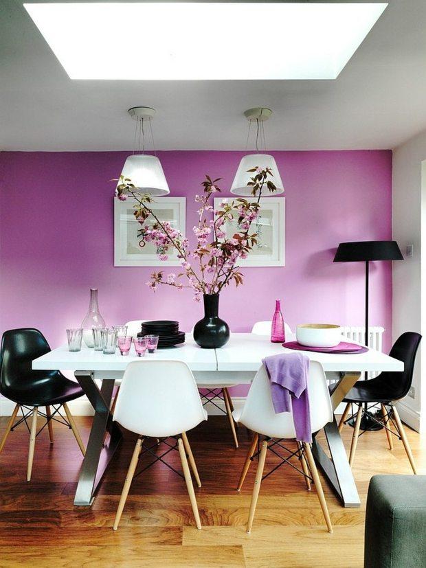 salle a manger elegante en violet