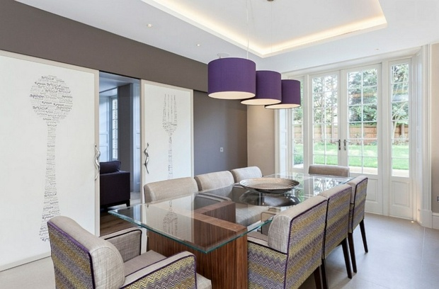 Dcoration de salle  manger lgante en violet