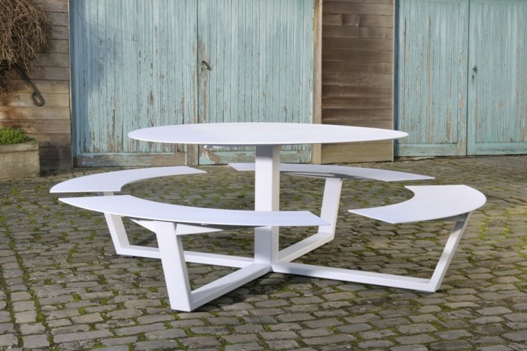 Table De Jardin Bois Rsine Tresse Aluminium
