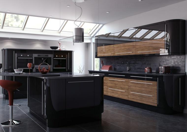 meuble cuisine laqué noir