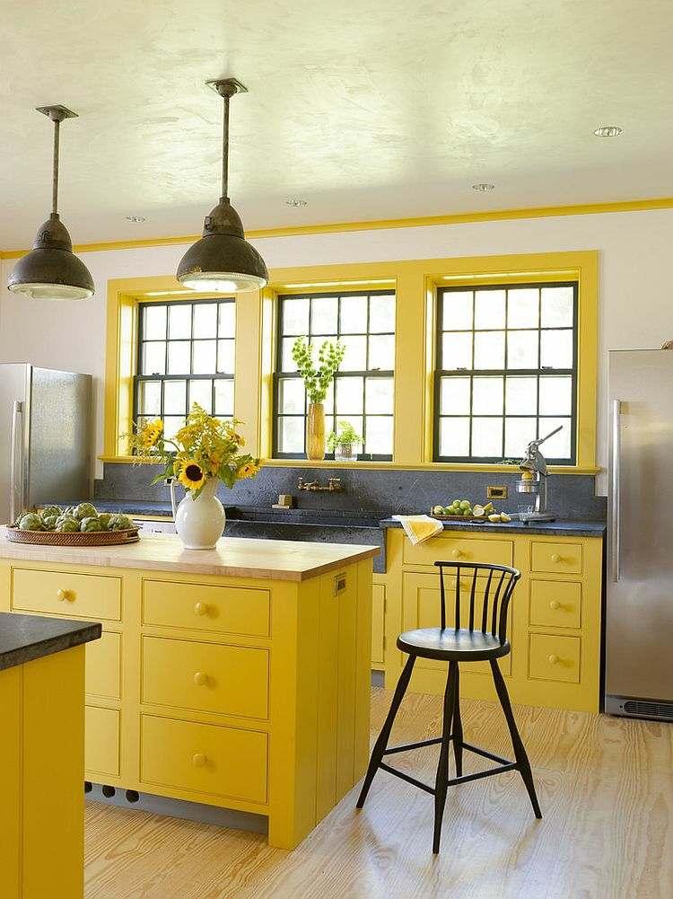 Ide dco cuisine une dco cuisine moderne en jaune et gris