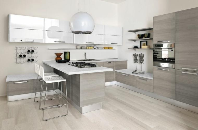 Plan de travail cuisine moderne en pierre et bois
