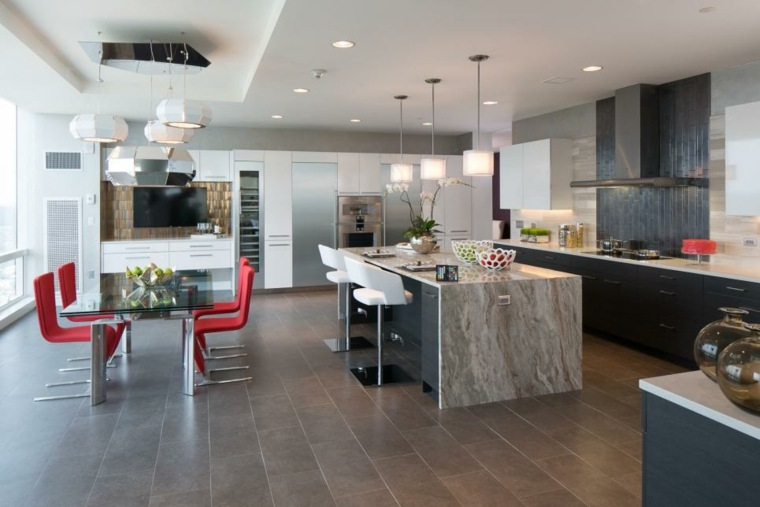 cuisine moderne blanche et bois