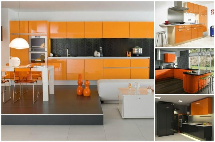 Cuisine couleur orange pour un dcor moderne et nergisant