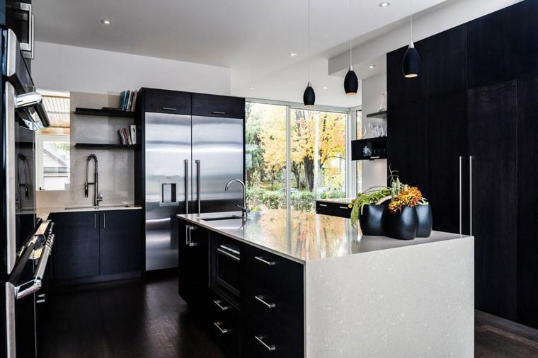 cuisine noire et bois elegance et nature