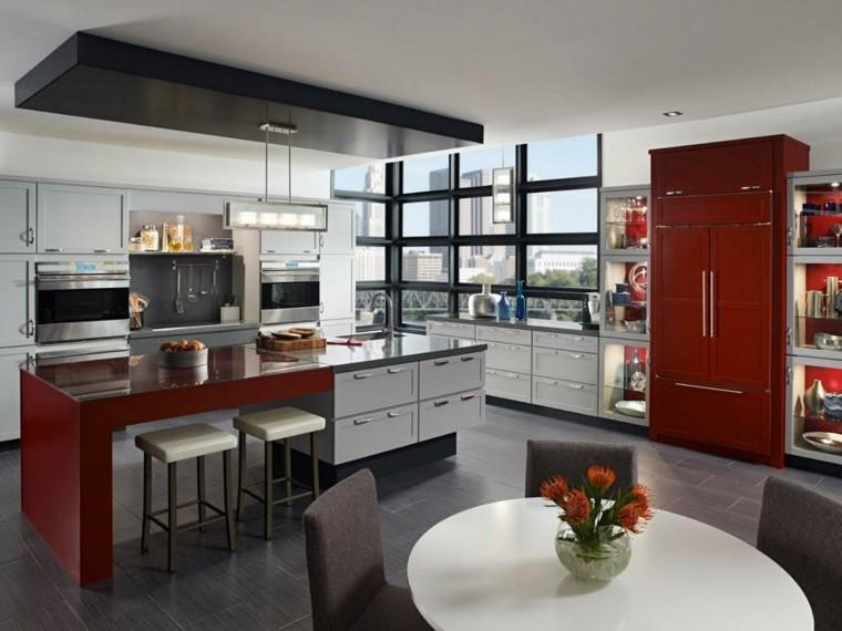 decoration cuisine moderne rouge et blanc