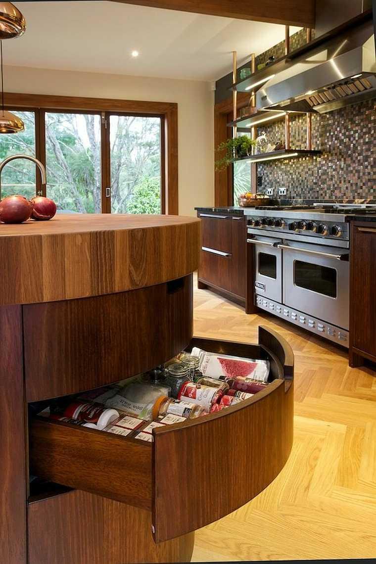 ilot central cuisine bois