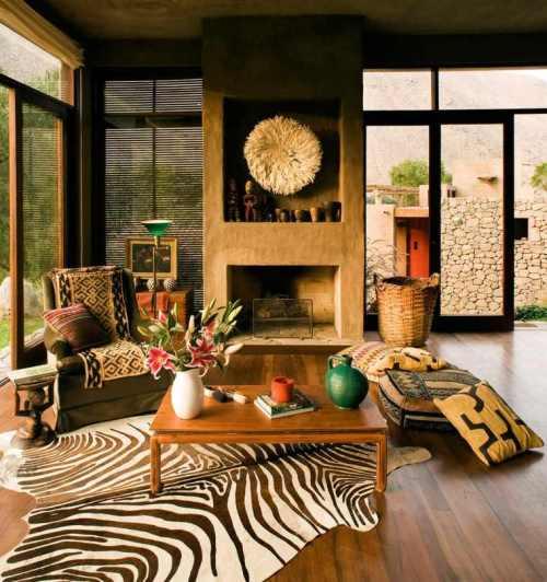 déco salon idée maison écolo matériaux verts design canapé fauteuil déco mur tapis de sol zèbre