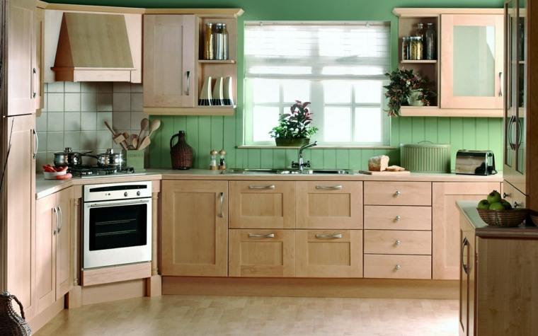 country style kitchen cabinets tall trash can cuisine verte pour un intérieur naturel et doux