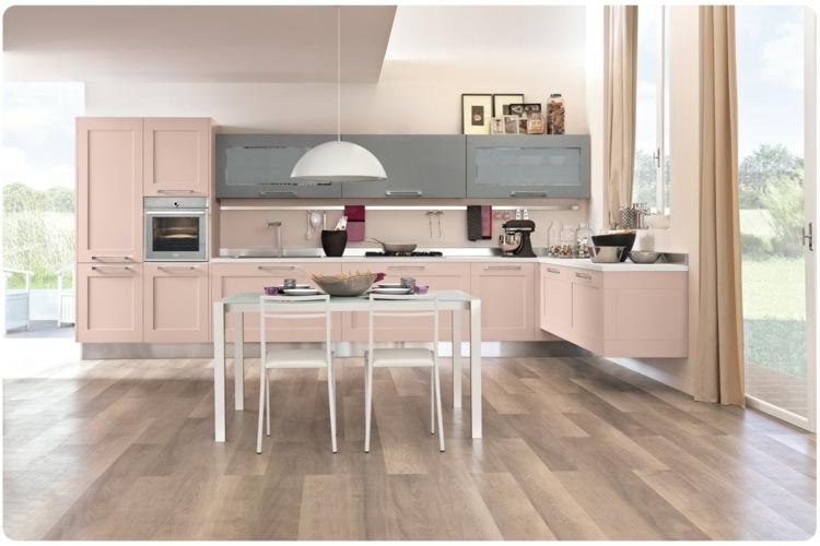 decoration de cuisine en bois en rose et gris